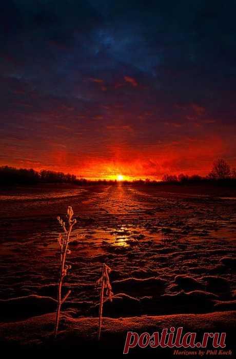 *Закатилось ярило дрыхнуть* или *Зима, закат в штате Висконсин, США*.