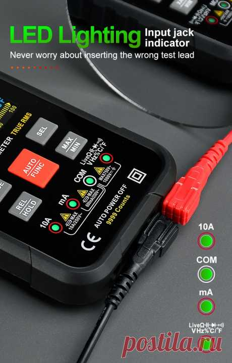 Профессиональный цифровой Интеллектуальный мультиметр HABOTEST HT116, автомобильный тестер с автоматическим выбором диапазона, Бесконтактный индикатор напряжения, 1000 В переменного тока, постоянного тока, Гц, Ом, тестер температуры   Инструменты   АлиЭкспресс