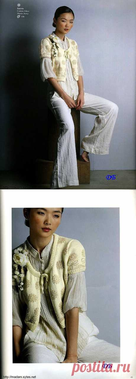 Кофточка с одуванчиками. Мило, по-винтажному привлекательно. Есть описание модели.