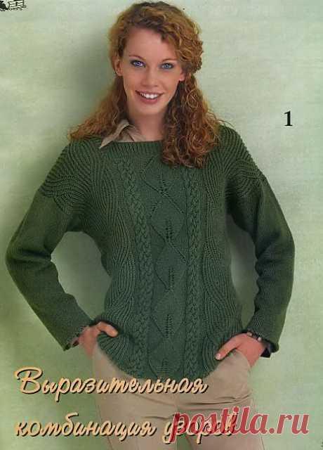 Оливковый пуловер спицами..