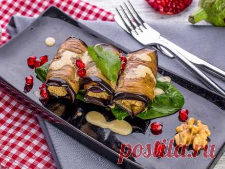Рулетики из баклажанов с грецкими орехами — Sloosh – кулинарные рецепты