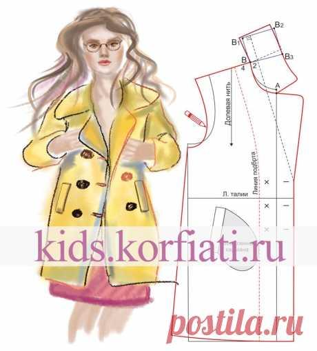 Выкройка двубортного пальто для девочки от Анастасии Корфиати