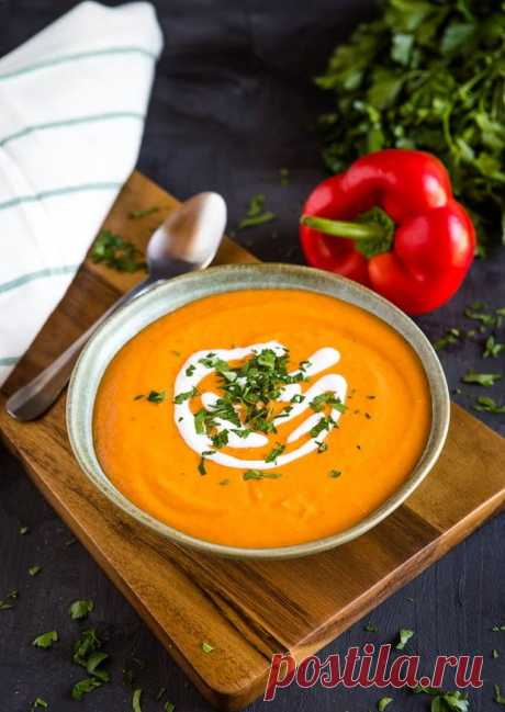 Суп-пюре с запеченным перцем и цветной капустой