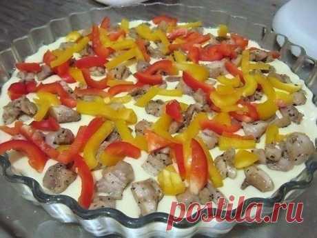 Открытый пирог с курицей и болгарским перцем!   Вкусные рецепты