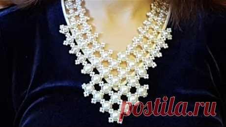 Beaded Pearl Necklace/PEARL Necklace/Beaded necklace/Collar de cuentas/ЖЕМЧУЖНОЕ колье
