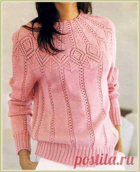 Нежный розовый пуловер, вяжем спицами