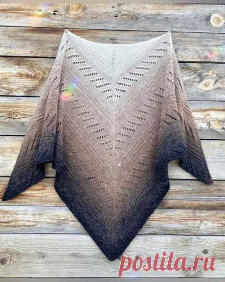 Треугольная шаль спицами. Подробный МК. | Мария - Вязание спицами и крючком | Яндекс Дзен