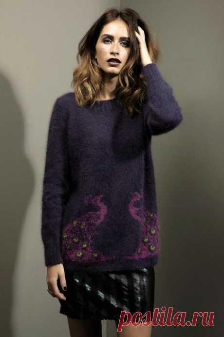 Пуловер спицами женский, схема Павлина