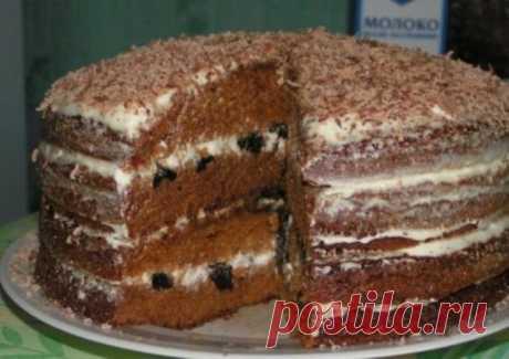 Царь тортов! Обалденный медовый торт с черносливом обязательно Вам понравится! Если еще не пробовали - рекомендую! Ингредиенты Тесто: Яйца – 3 шт, Сахар – 0.5 стакана, Соль, Сода, Мед – 50 г, Мука – 3/4 стакана, Ванилин. Крем: Чернослив – 150 г, Сметана или сливки –