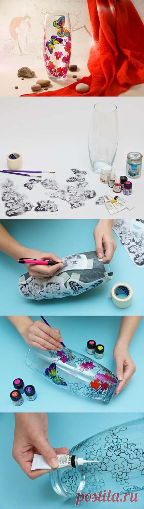 Как делать - витражная роспись на вазе (мастер-класс)