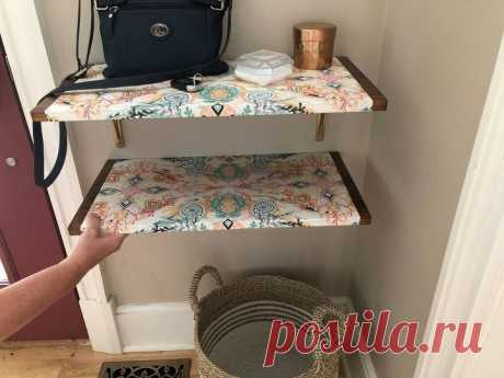 How to Dress a Wood Wall Shelf With Mod Podge and Gift Wrap DIY | Hometalk