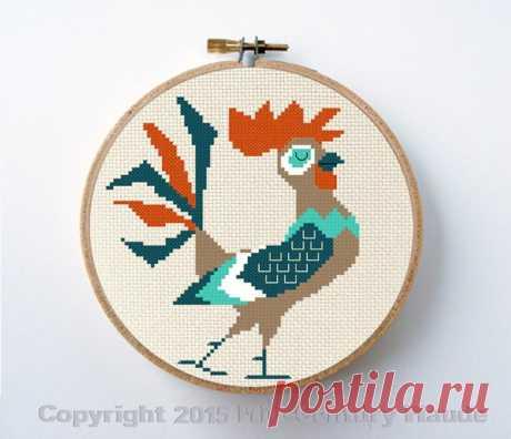 Retro rooster cross stitch pattern mid century modern style   Etsy