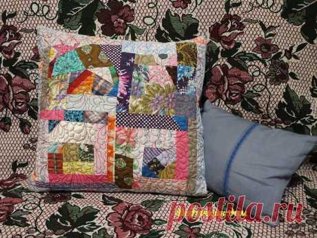 Утилизирую лоскутки, шью декоративную подушку в технике «крейзи». | Дедушкин дом | Яндекс Дзен