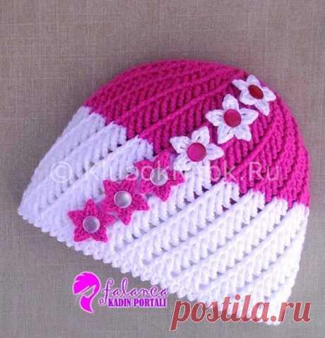Шапочка для девочки крючком на осень. Вязание для детей страна мам.