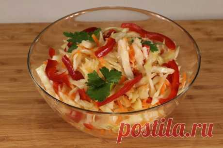 Капуста, маринованная с болгарским перцем – быстрый рецепт