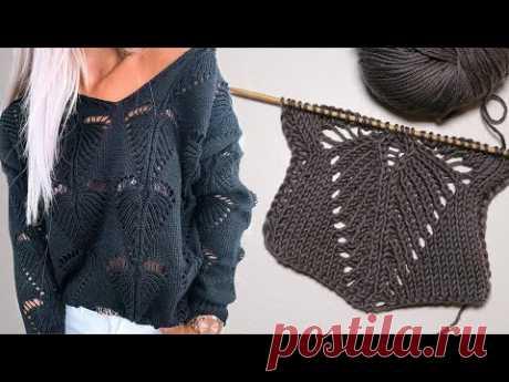 Узор «Листик» спицами усовершенствованный вариант | «Leaf» knitting pattern