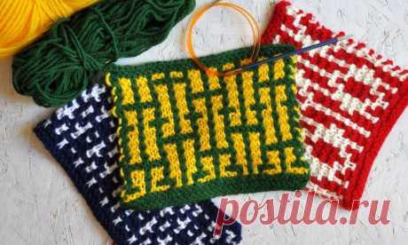 Двухцветные узоры платочной вязкой. Техника, схемы, описание | Вяжи Онлайн | Яндекс Дзен
