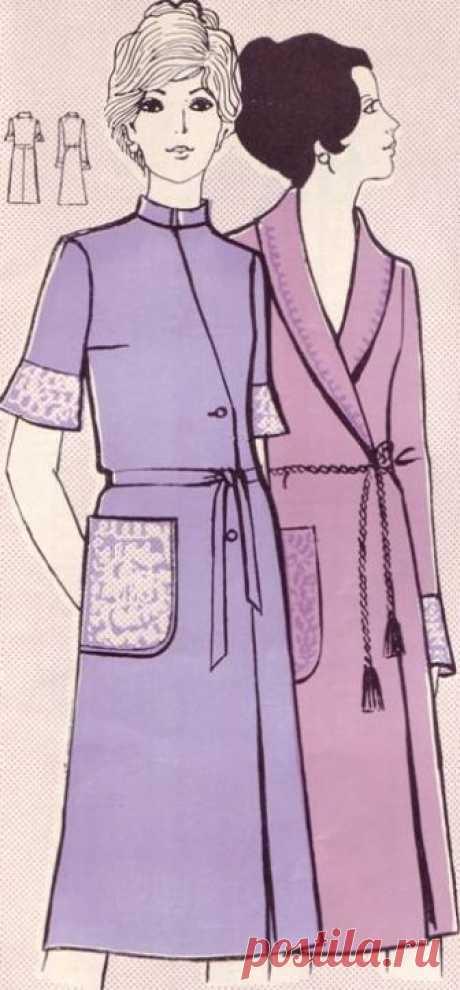 Фасоны и чертежи выкроек домашних халатов