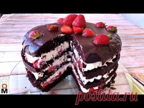 """Шоколадно-Клубничный  Торт """"Нежность""""  с Коржами на Кефире, Просто ТАЕТ ВО РТУ"""
