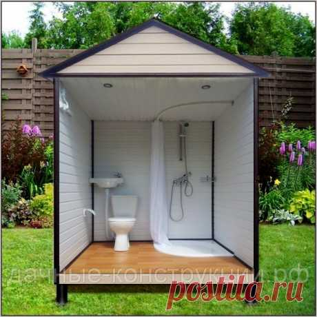 """Дачный душ с туалетом ДТ-18-1 совмещенный от компании """"Дачные конструкции""""."""