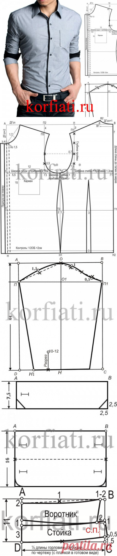 Выкройка мужской приталенной рубашки от А. Корфиати