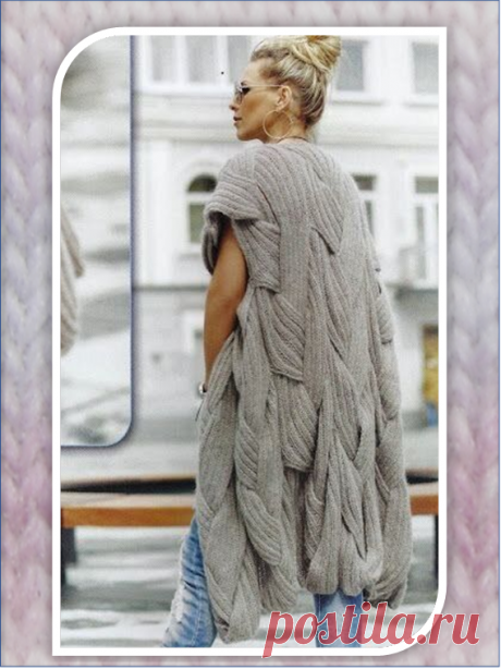 Крупная вязка: кардиган из огромных вязанных на спицах полос | Embroidery art | Яндекс Дзен