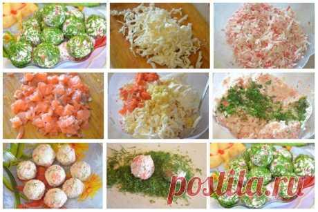 Лучшие кулинарные рецепты: Сырные шарики с крабовыми палочками