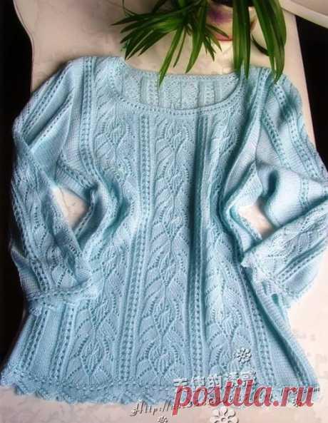Ажурный пуловер спицами красивым узором. Японские модели спицами |