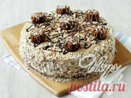 Шоколадный торт с орехами и сгущенкой – рецепт с фото