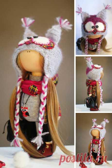 Handmade Doll Red Doll Soft Doll Fabric Doll Winter Doll