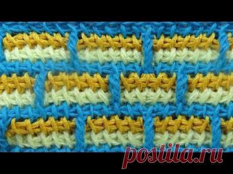 Узор Кирпичики вязание крючком Tunisian crochet pattern 53