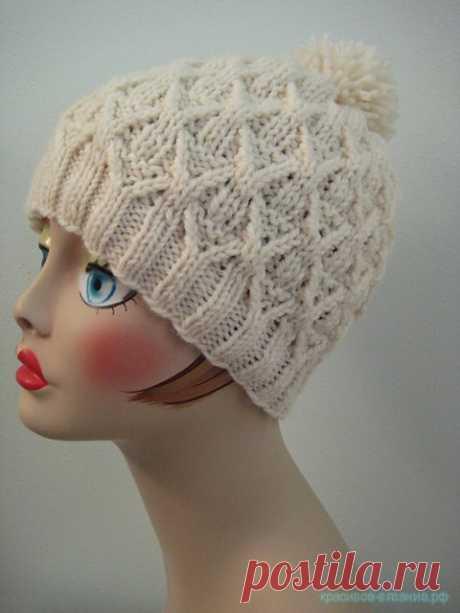 Красивое вязание   Шапка спицами.