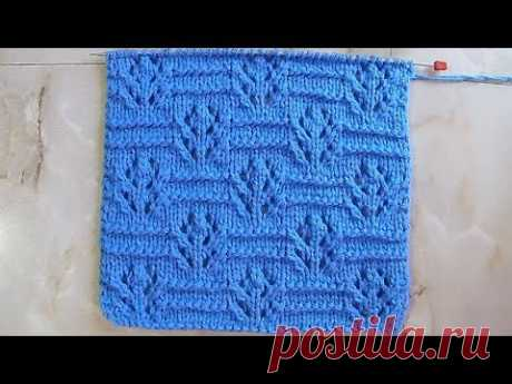 Openwork pattern florets Knitting by spokes Video lesson 190