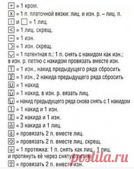 Шпаргалка условных обозначений для вязания спицами..   От скуки на все руки.   Яндекс Дзен