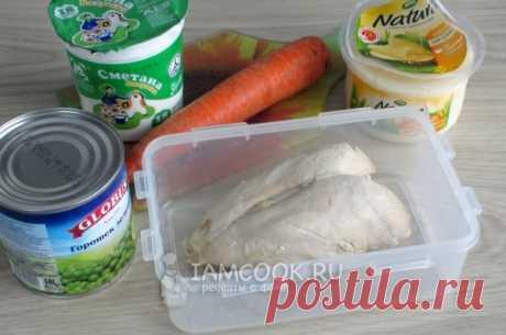 Салат с курицей, морковью и зелёным горошком — рецепт с фото пошагово