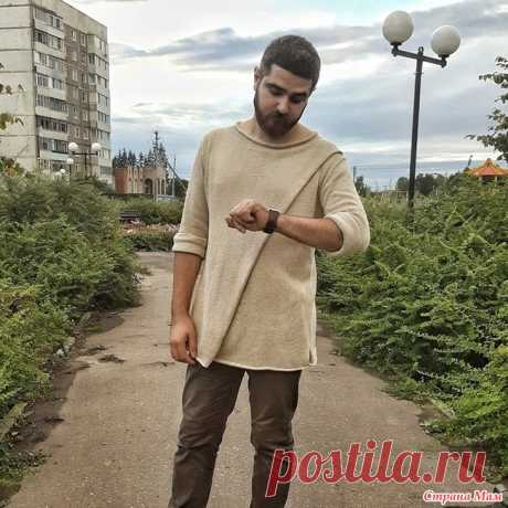 . Мужской свитер с запахом Всем привет!  Вдогонку к предыдущему посту https://www.stranamam.ru/ хочу показать и мужской свитер с запахом, связаный мной этим летом.