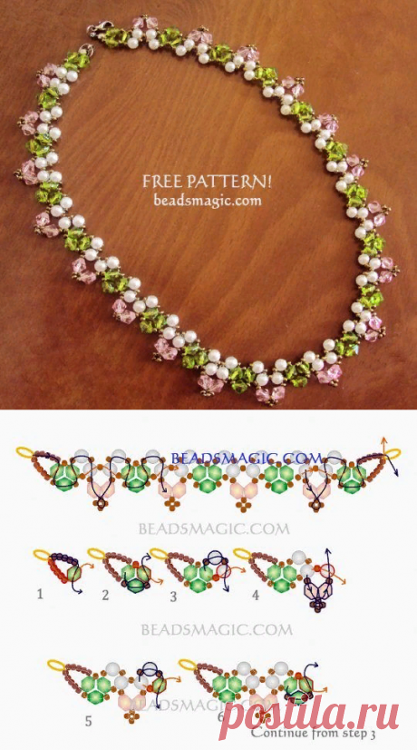 Free pattern for necklace Spring Way | Beads Magic