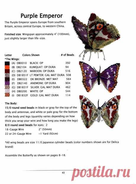 A Flock of Butterflies in 3-D Peyote Stitch.