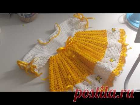 Vestido de crochê para bebê (tamanho 3 a 6 meses)