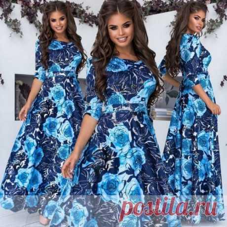 Трикотажное платье в пол с цветами