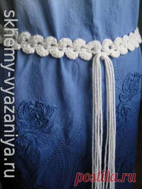 Вязание: простой тонкий пояс с ракушками крючком - схема и описание на skhemy-vyazaniya.ru