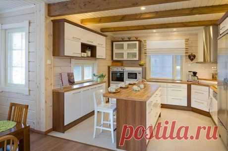 Дизайн кухни в доме из бруса.