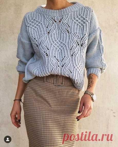 Шикарный свитер с ажурным узором спицами — HandMade
