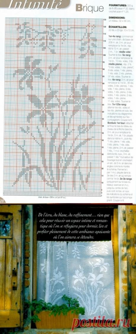 """Штора """"Галявина нарцисів"""" - Штори та фіранки - В'язання для дому - Каталог статей - Md.Crochet"""