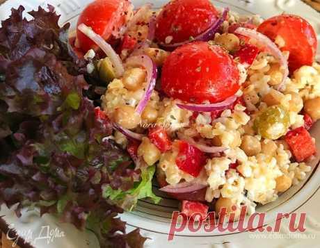 Овощной салат с нутом и булгуром , рецепт с ингредиентами: булгур, нут консервированный, лук красный