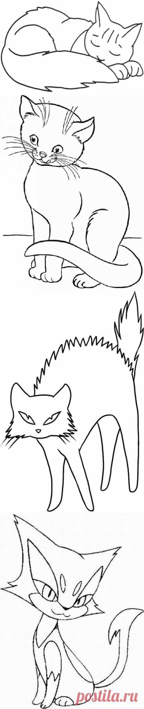 Эскизы кошек для рисования | БАТИК и Я