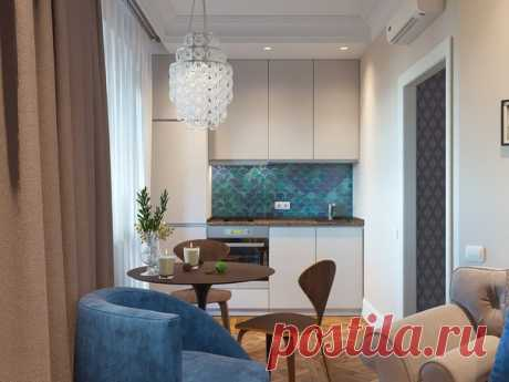 Заказчица хотела обустроить на 38 квадратах полноценную спальню, гостиную и кухню с обеденной группой. Смотрим что получилось, целиком по ссылке: