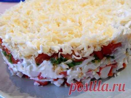 Легкий салат с крабовыми палочками. Быстрый вариант  вкусного салата - YouTube