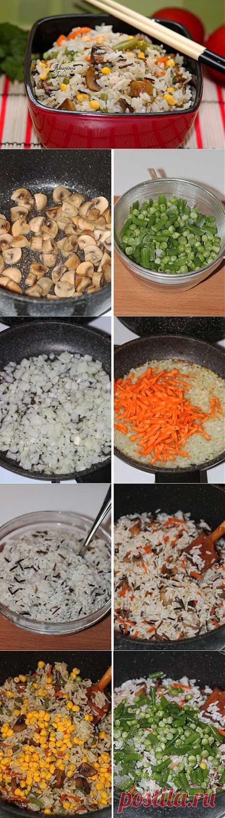 Постный рис с овощами и грибами — рецепт с пошаговыми фото. Foodclub.ru