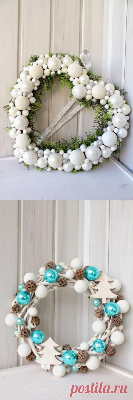 Різдвяні віночки з ялинкових кульок(30 фото)   Ідеї декору